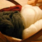 A basket full of roving.